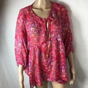 ANTHROPOLOGIE EVERLY FLORAL PAISLEY BOHO BLOUSE-L
